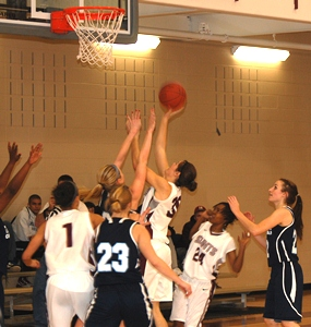 Freshman Maggie Gondeck goes up for a lay-up against Trinity Chrisitan Wednesday night.