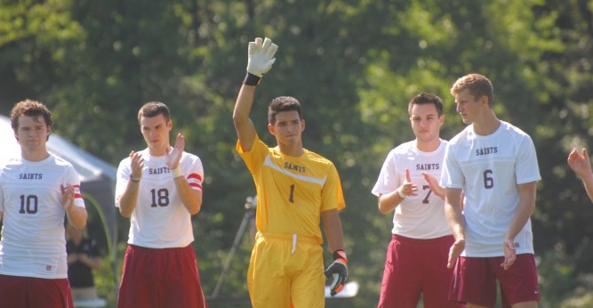 CCAC defensive player of the week, Victor Navarro, finished with 10 saves in the Saints tie with Olivet Nazarene.
