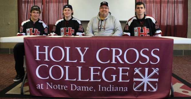 (L-R) Nic Mensik, Will Bauers, Coach T.J. Lyons and Devin Nyers following their signings