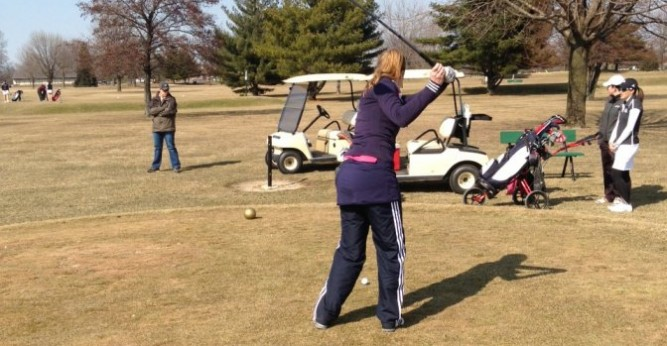 Sarah Hartle shot a team low 173 (89, 84) in the Saints first spring tournament