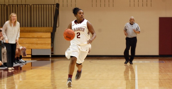 Kari Barnes scored a game-high 15 points as the Saints notched their second CCAC win of the year over TIU