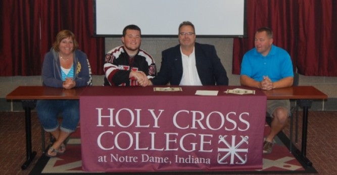 Keaton Deranek (above) and Nick Wink (below) sign to join the Saints hockey program