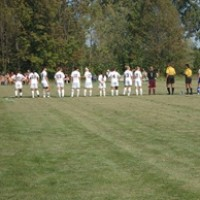 The Saints lined up for the start of the game.