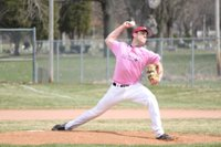 Nate Bilinski starts game one during Striking Out Cancer day.